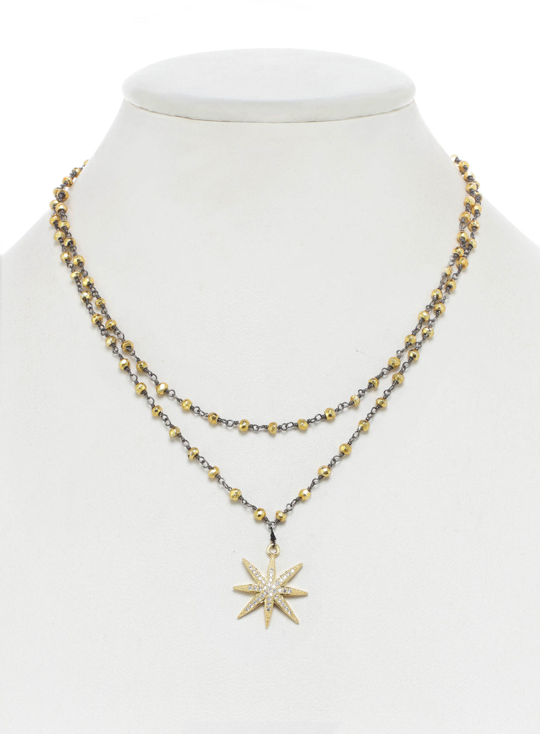 Gold Pyrite and Clear Cubic Zirconia Star Necklace