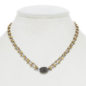 Pyrite and Pave Fireball Necklace