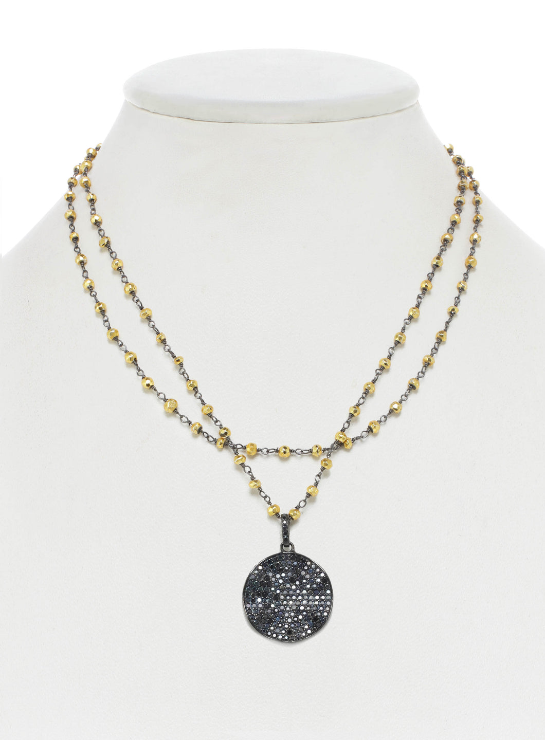 Gold Pyrite and Black Spinel Wavy Disc Necklace
