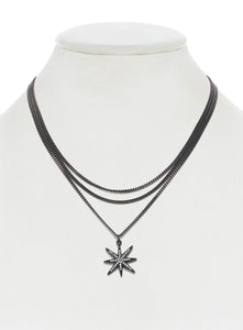 Layered Pave Star Necklace