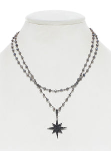Labradorite and Black Spinel Star Pendant Necklace