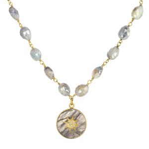 Labradorite and Diamond Pendant