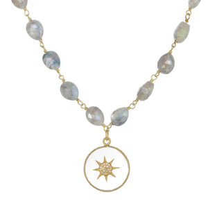 Mystique Quartz and Diamond Pendant Necklace
