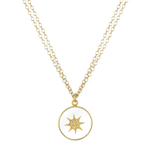 Diamond Crystal and Gold Chain Pendant Necklace