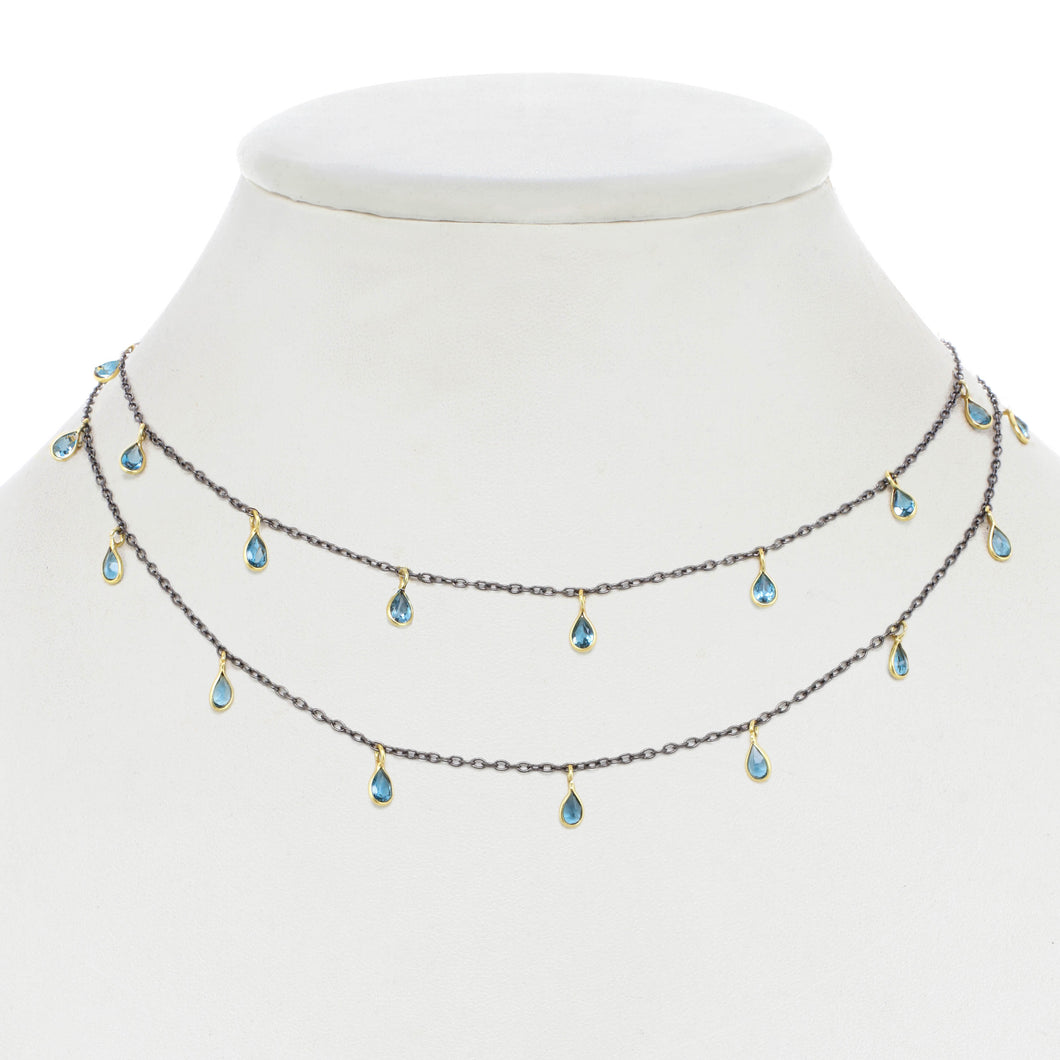London Blue Topaz Droplet Necklace