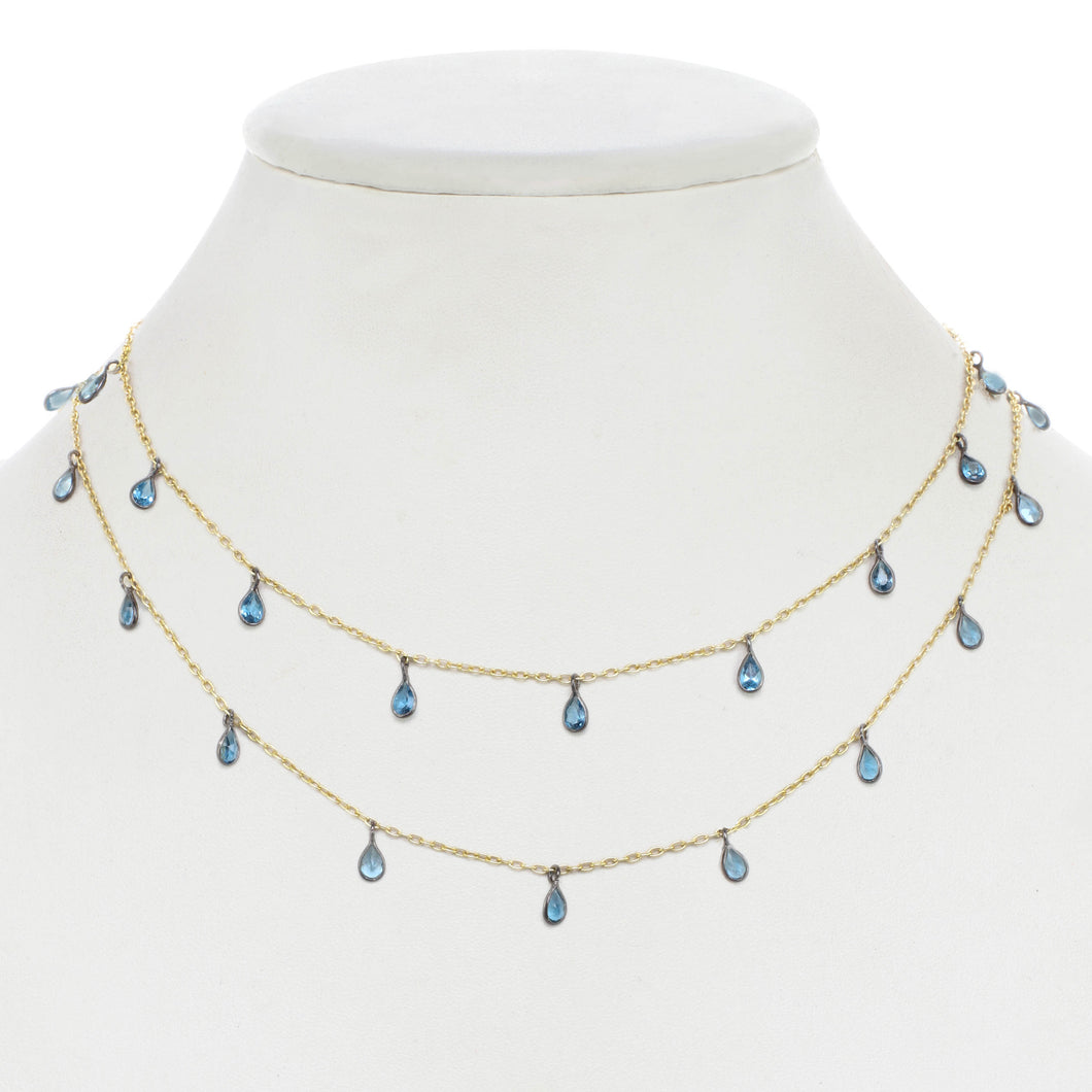 London Blue topaz Droplet Chain Necklace