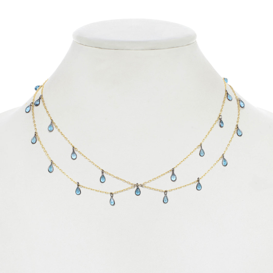 London Blue Topaz Delicate Bib Necklace