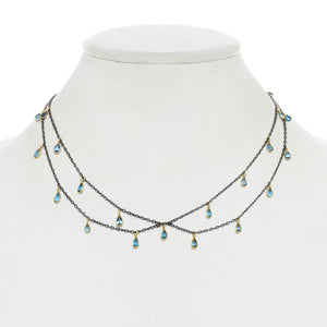 London Blue Topaz and Gun Metal Bib Necklace