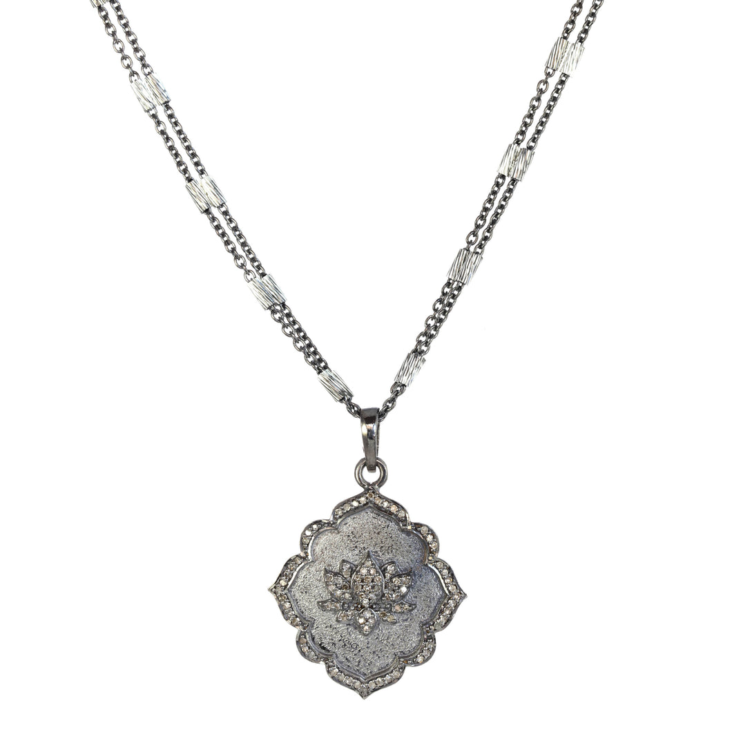 Lucky Lotus Diamond and Sterling Silver Pendant