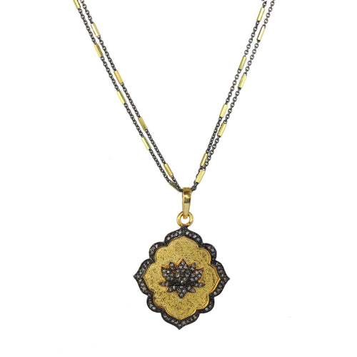 Lucky Lotus and Diamond Pendant Necklace