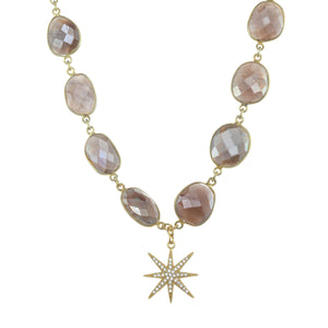 Chocolate Moonstone Star Necklace