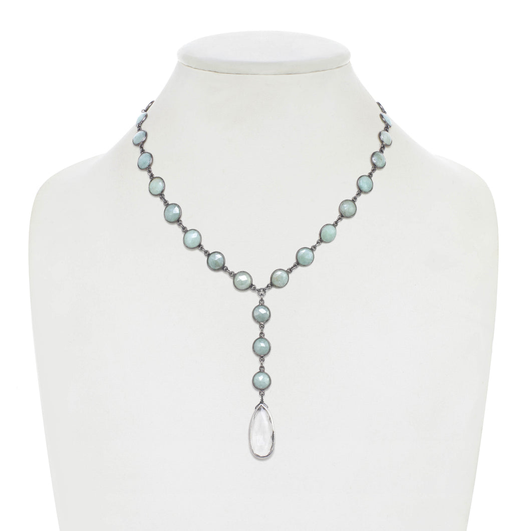 Sea Foam Green Chalcedony Y Necklace