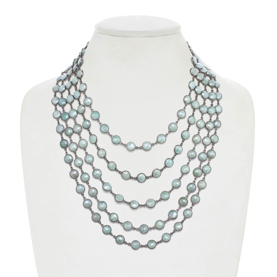 Sea Foam Green Chalcedony Layered Bib Necklace