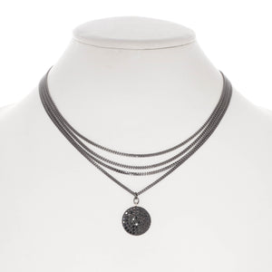 Layered Necklace with Black Spinel Pave Pendant
