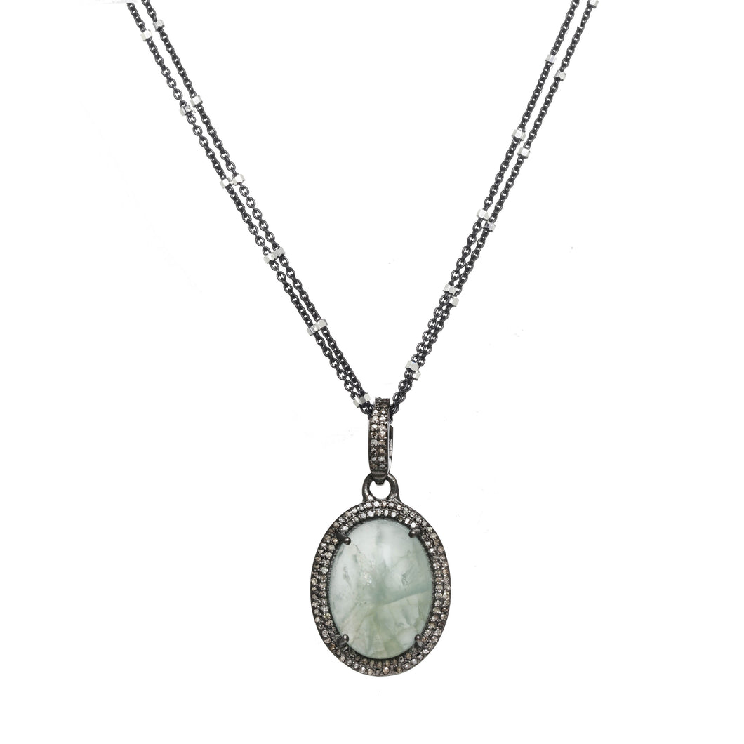 Aquamarine and Diamond Pave Pendant Necklace