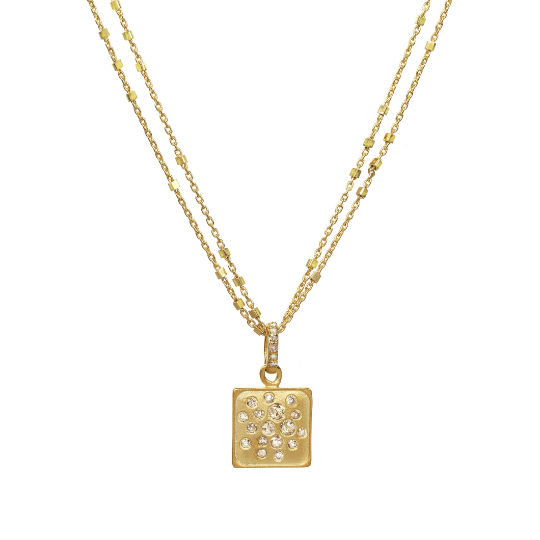 Gold Square Diamond Necklace