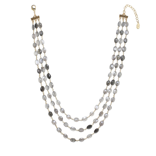Grey Moonstone Layered Necklace