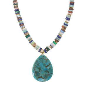 Mixed Medley and Turquoise Pendant Necklace