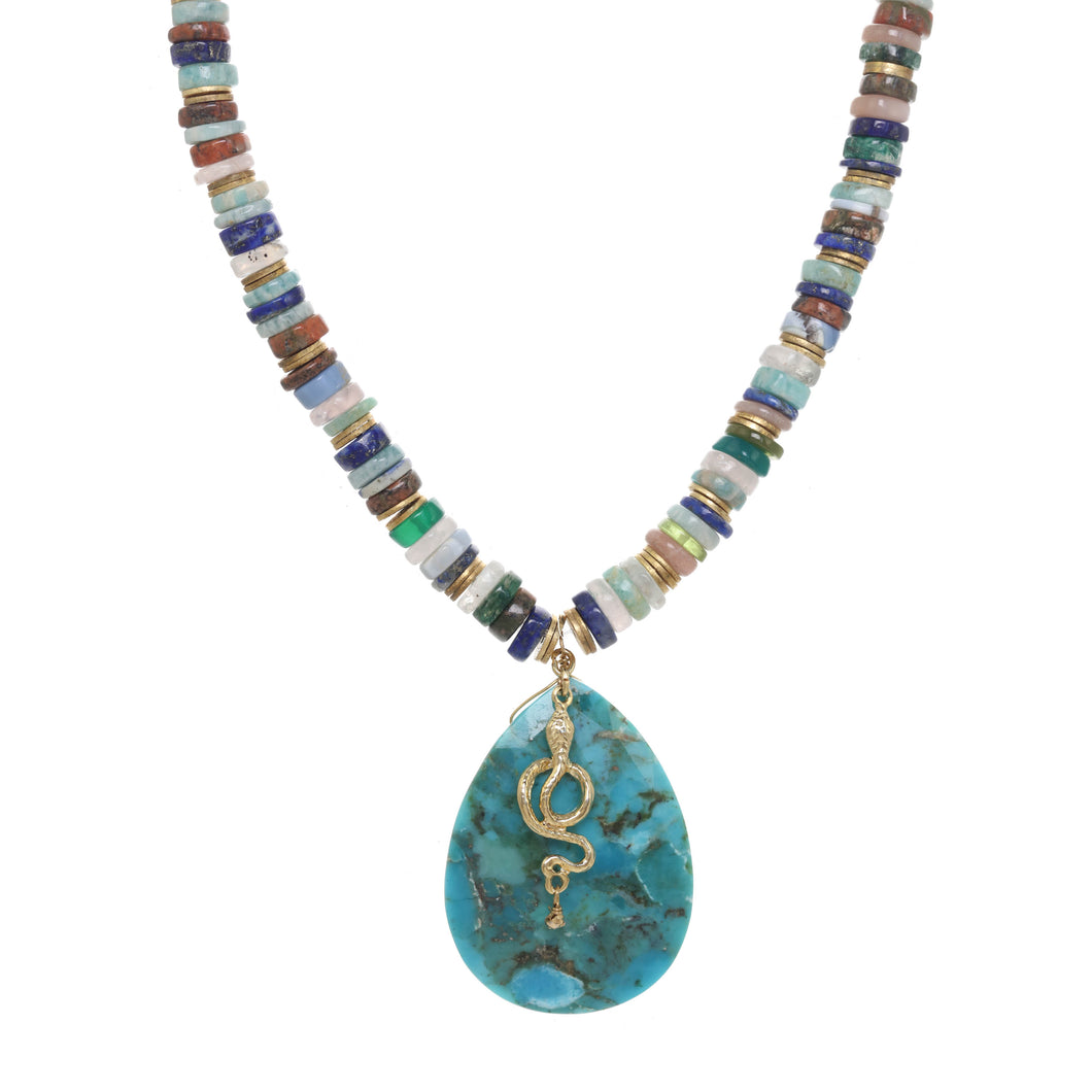 Turquoise Medley and Serpent Necklace
