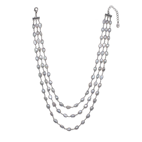 Grey Freshwater Pearl Layered Necklace