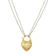Load image into Gallery viewer, Pearl Heart Padlock Necklace