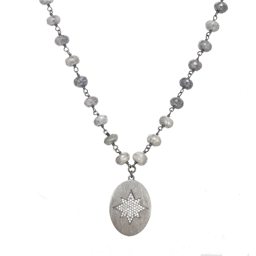 Bright Star Silverite and Diamond Necklace