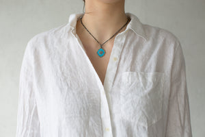 Diamond Dusted Turquoise Lotus Necklace