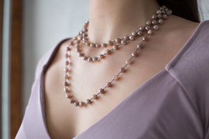 Mystique Coated Pink Quartz Layered Necklace