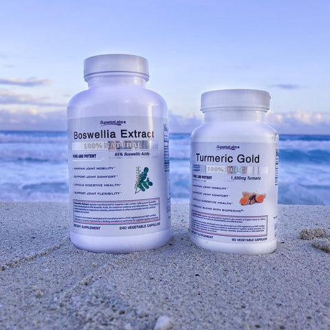 Boswellia Extract and Turmeric Gold from Superior Labs on Sand with Ocean in Background