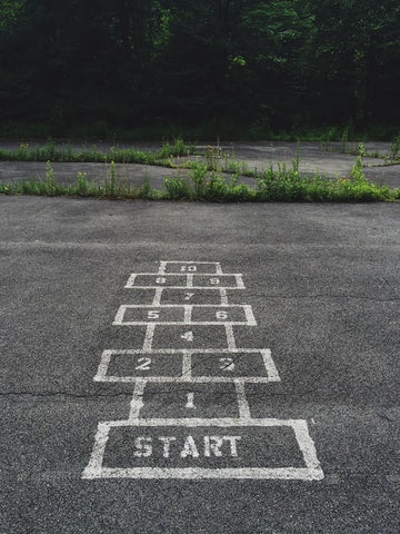School playground with Hopscotch board drawn in white paint