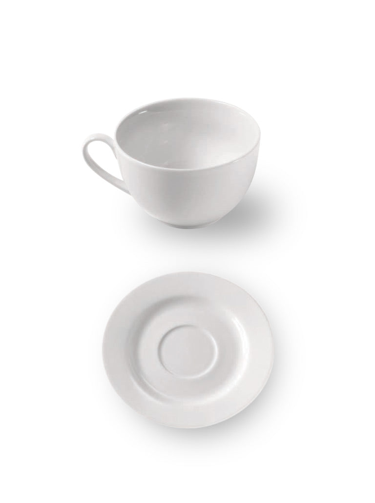 Extra Fine Porcelain Cup & Saucer Set Large (Set of 6)