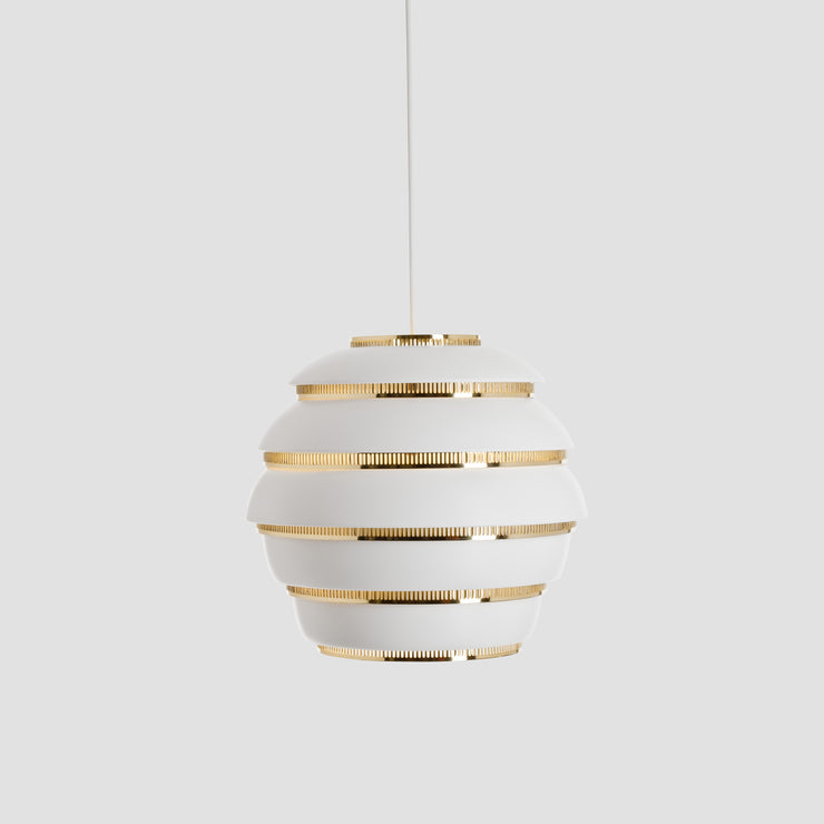 "Pendant Lamp A331 ""Beehive"" - White/Brass"