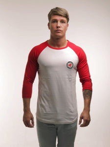 Men's Baseball T-Shirt in White & Red