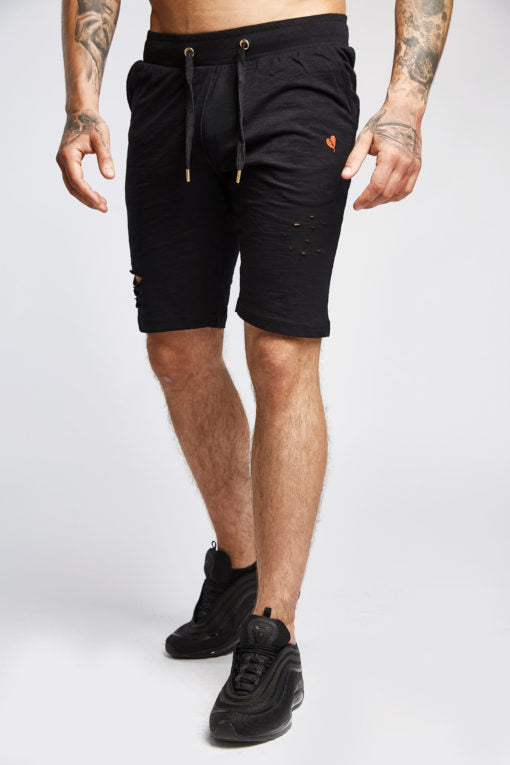 Men's Distressed Shorts in Black