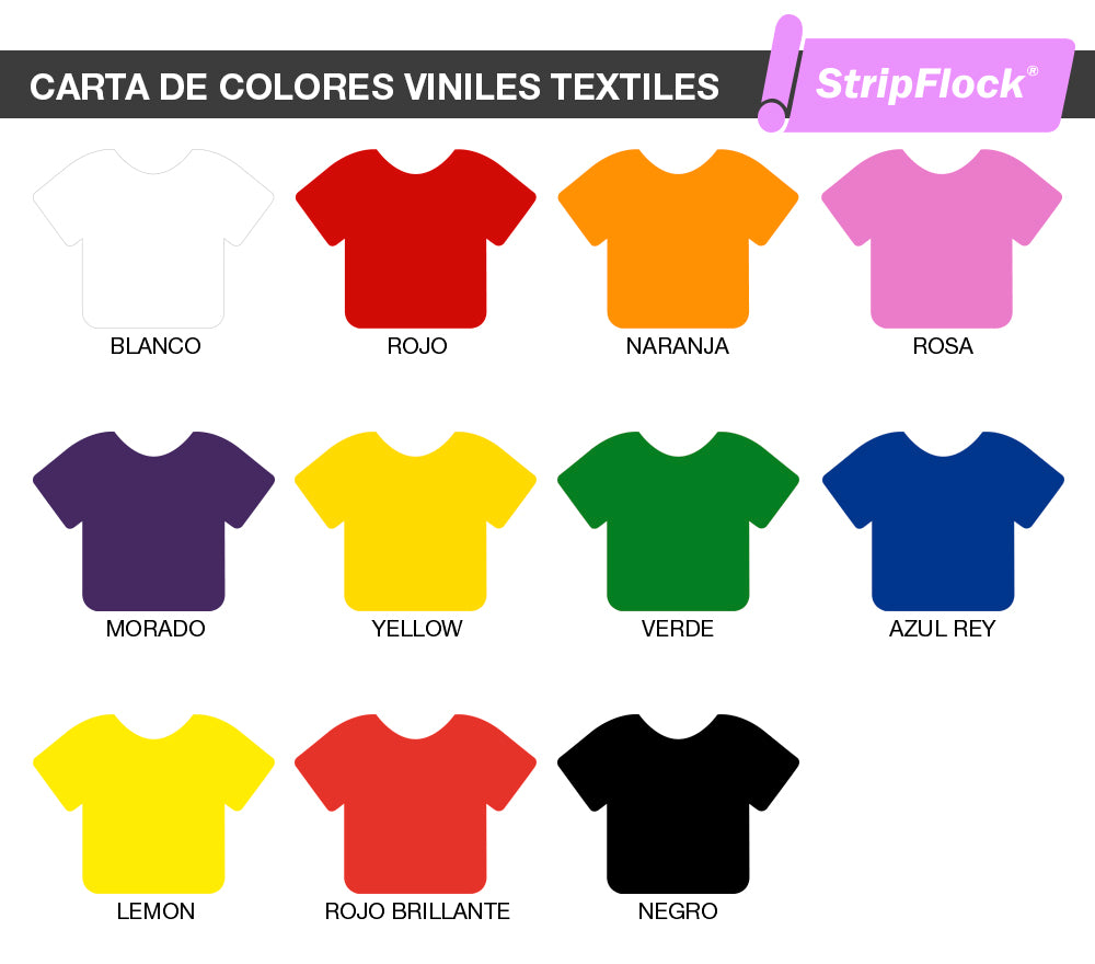 Carta de colores Vinil textil StripFlock de siser