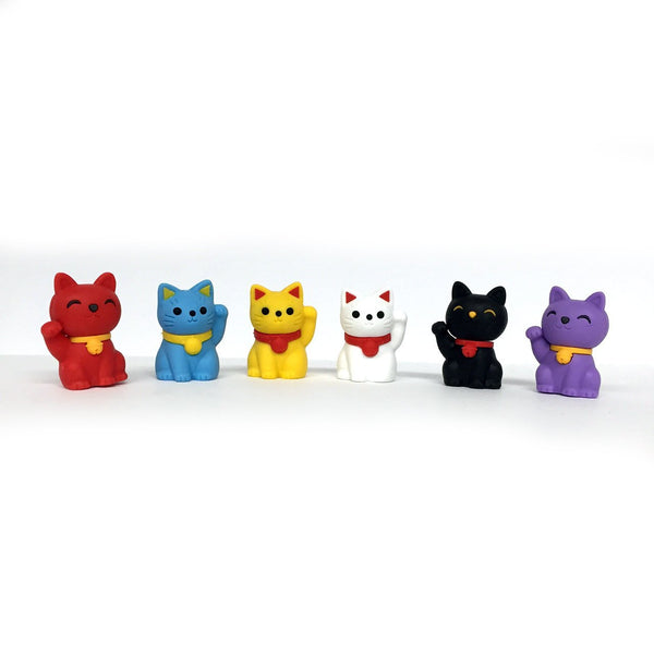 Iwako Pencil Erasers Lucky Cat (Welcome Cat), Pack of 6-Iwako-Price JPN