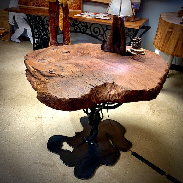 Red Oak Burl Entry Table with Hand forged Steel Base