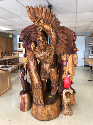 Wooden Cedar Indian With Wings