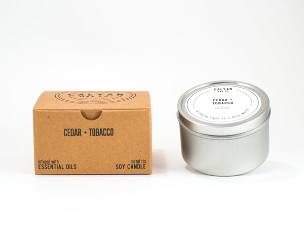 Metal Tin Soy Candle - Cedar/Tobacco-Calyan Wax Co-candle
