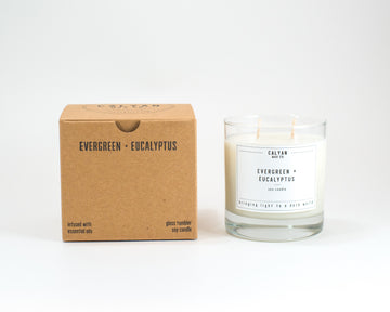 Glass Tumbler Soy Candle - Evergreen/Eucalyptus