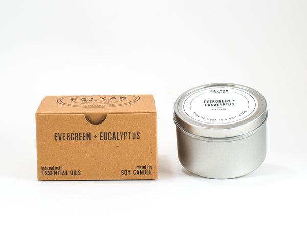 Metal Tin Soy Candle - Evergreen/Eucalyptus