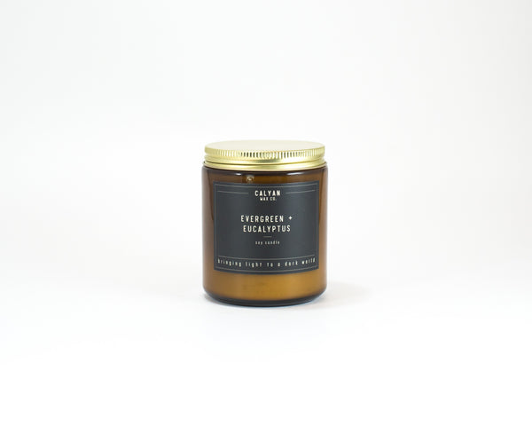 Amber Jar Soy Candle - Evergreen/Eucalyptus-Calyan Wax Co-candle