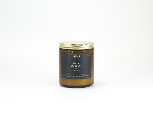 Amber Jar Soy Candle - Fig/Seagrass