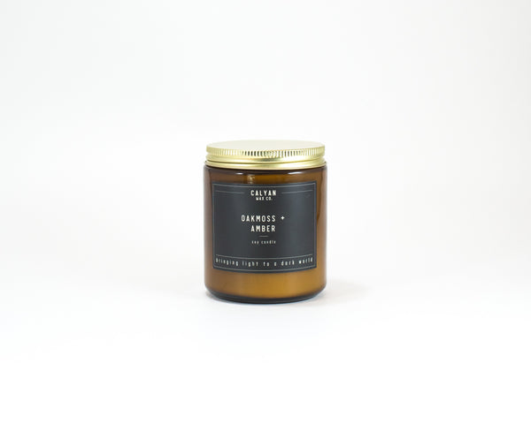 Amber Jar Soy Candle - Oakmoss/Amber-Calyan Wax Co-candle