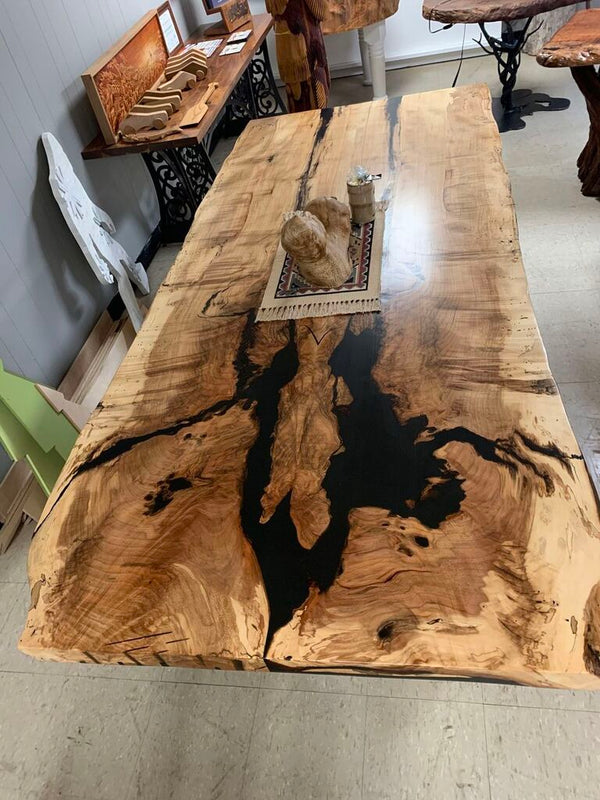 Live Edge Bookmatch Maple Dining Table-The Phillips Forest Store-live edge dining table