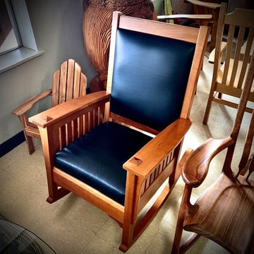 Cherry Rocking Chair with Leather