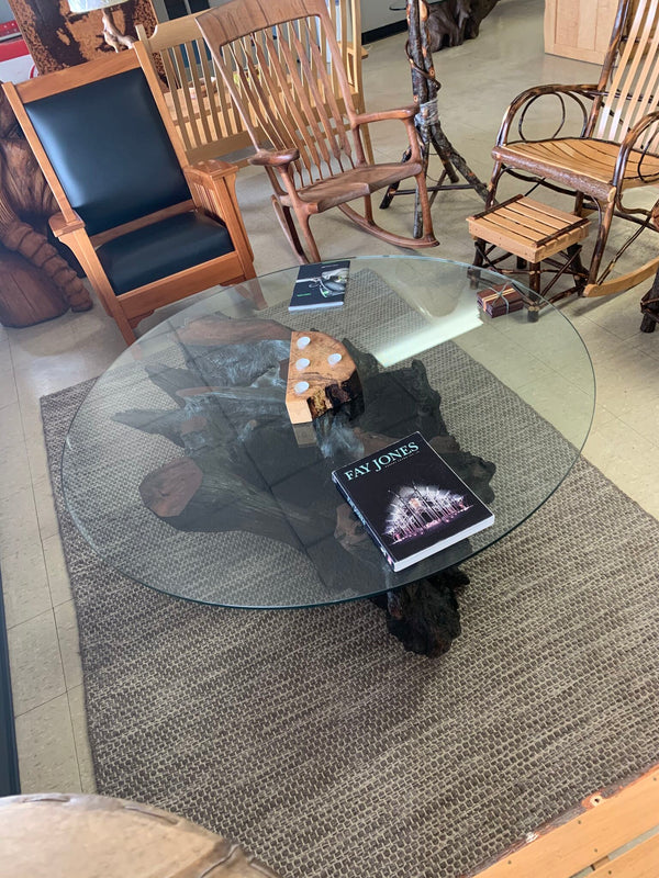 Glass Coffee Table with Wooden Base