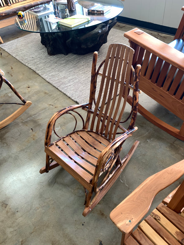 Walnut and Oak Rocking Chairs with Willow Branch Accents