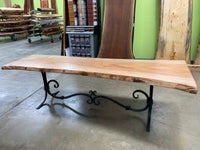 Pecan Table with a Steel Base