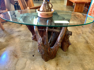 Glass Coffee Table with a Natural Redwood Base
